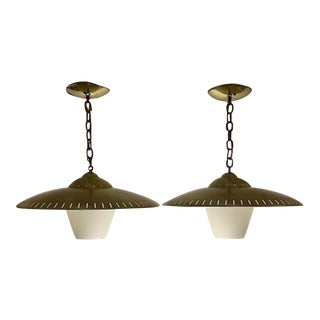 1960s Mid-Century Modern Atomic Age Flying Saucer Ceiling Lights - a Pair For Sale