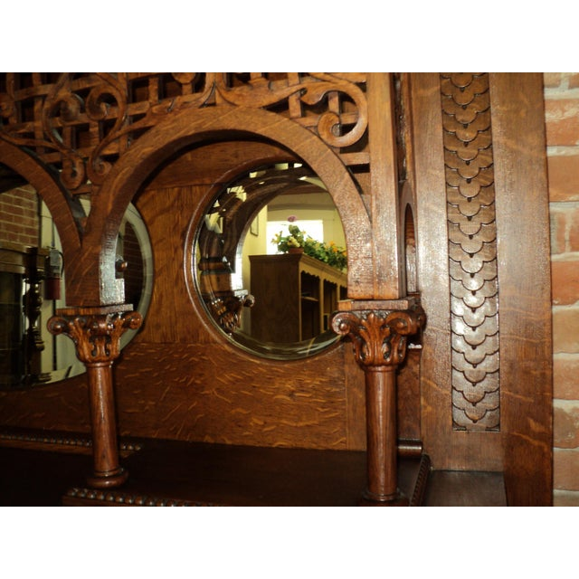 Late 19th Century Highly Carved Oak Fireplace Mantel For Sale - Image 11 of 12