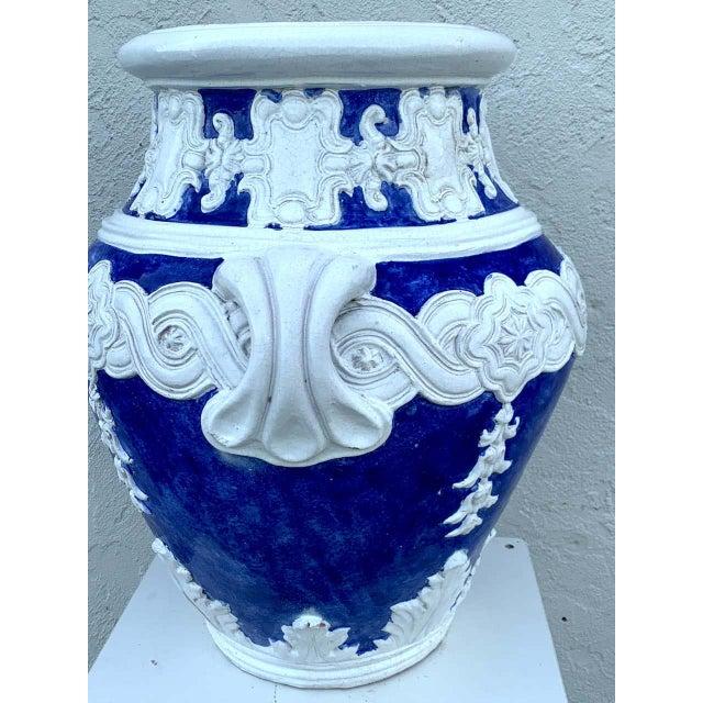 Italian Blue and White Della Robbia Style Jardiniere, Provenance, Celine Dion For Sale - Image 9 of 11