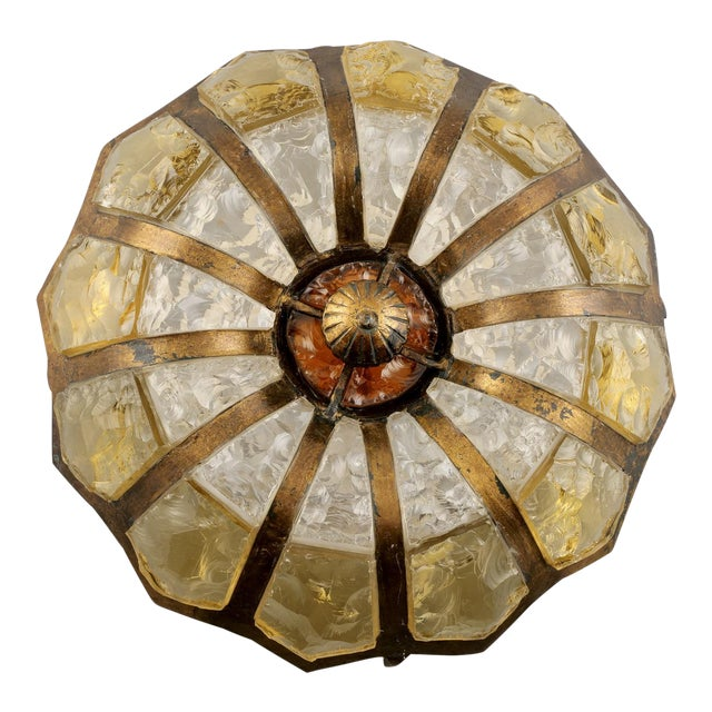 Italian Mottled Glass and Bronze Round Flush Mount Fixture For Sale