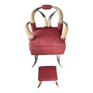 1800's Victorian Horn Armchair & Footstool For Sale
