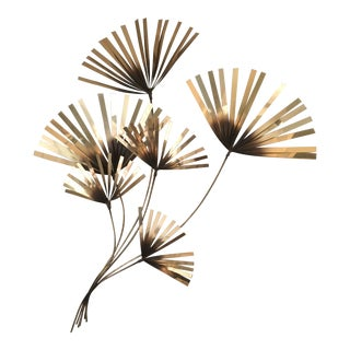 Curtis Jere Brass Palm Fronds Wall Sculpture For Sale