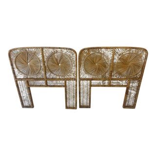 Rattan Medallion Twin Headboards - A Pair