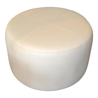 Modern Round Hand-Crafted Leather Ottoman, Pouf in Beige Leather, Contemporary For Sale