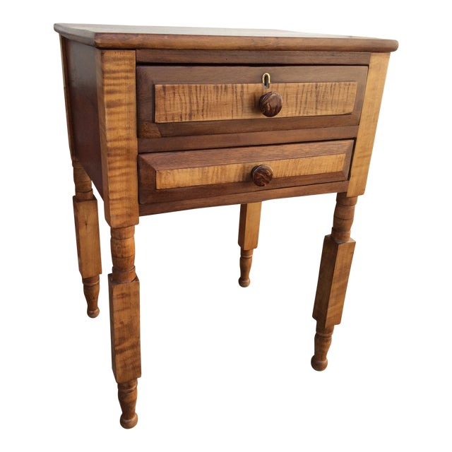 Antique Tiger Maple and Cherry 2 Drawer Stand For Sale