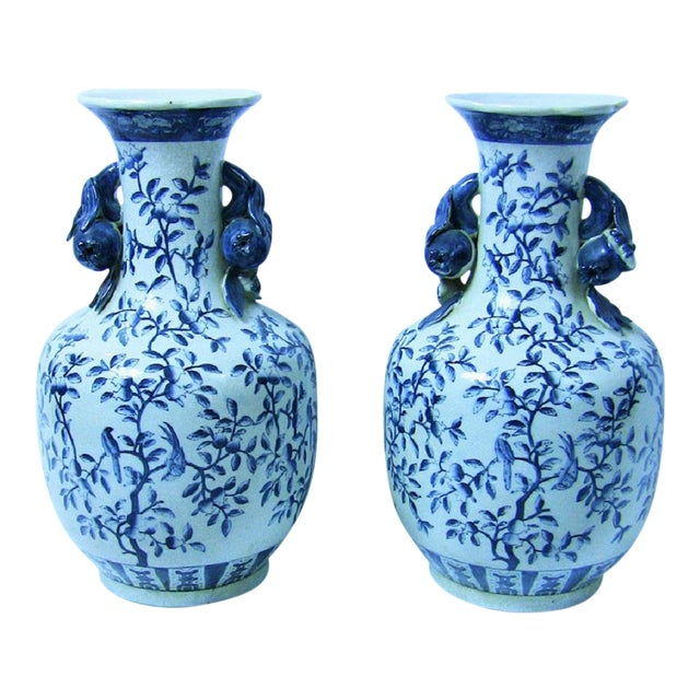 19c Pair of Large Staffordshire Ironstone Floor Vases For Sale