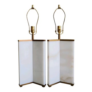 Marble and Brass Lamps by Robert Abbey - a Pair For Sale