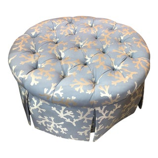 Blue Coral Tufted Ottoman With Skirted Upholstery