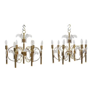 Pair Mid Century Sciolari Gold Plated Brass and Crystal Six Light Chandeliers For Sale