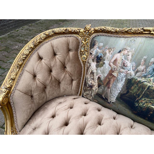 French Louis XVI Style Corbeille Loveseat/Sofa/Marquise For Sale - Image 4 of 8
