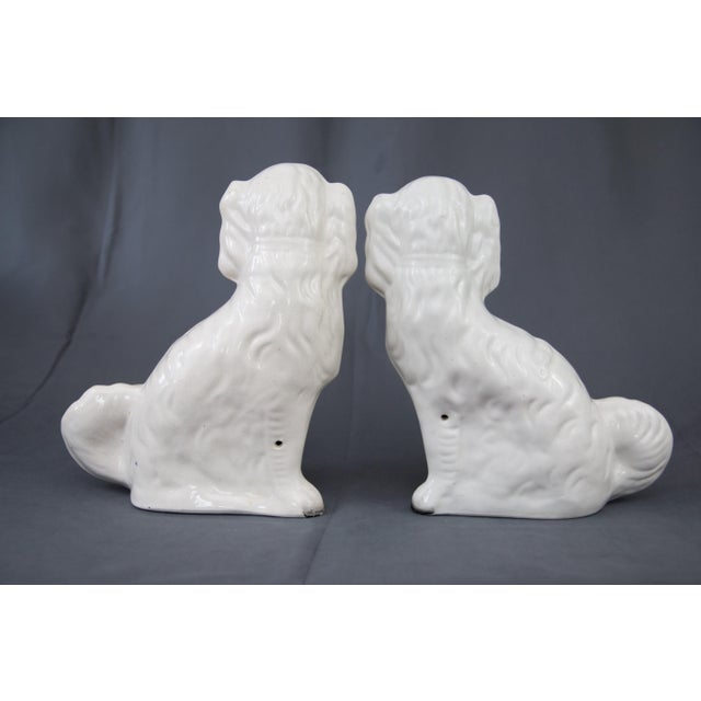 Ceramic Large Antique English Staffordshire Spaniel Dogs - a Pair For Sale - Image 7 of 10