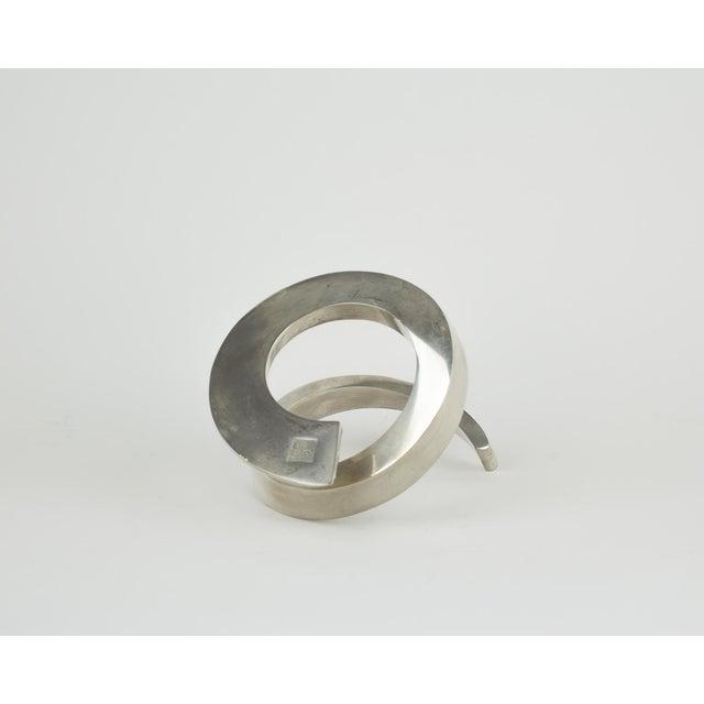 Silver 1960s Minimalistic Dansk Silver Spiral Candle Holder For Sale - Image 8 of 11