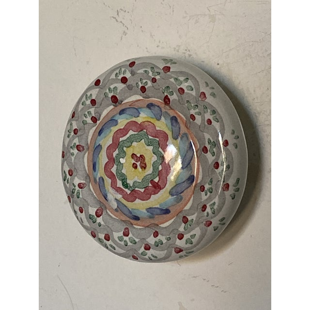 1990's Mackenzie Childs Hand Painted Ceramic Door Pulls - a Pair For Sale In Chicago - Image 6 of 13