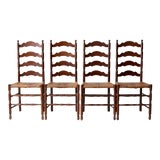 Image of Antique Rush Seat Dining Chairs - Set of 4 For Sale