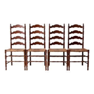 Antique Rush Seat Dining Chairs - Set of 4 For Sale