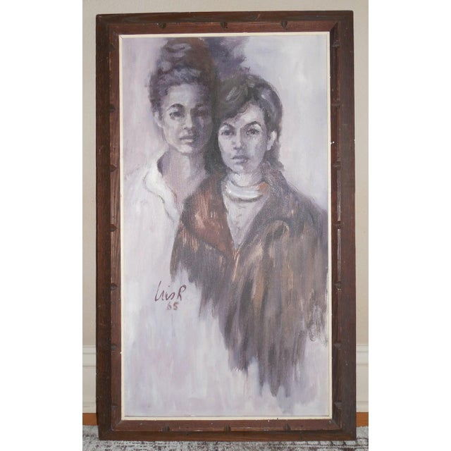 A muted and sophisticated acrylic on canvas portrait of two women-likely a mother and daughter- in shades of grey,...
