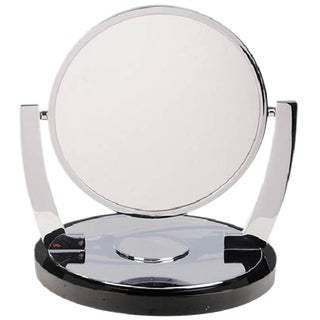 Deco Style Vanity/Makeup Mirror With Magnifying Side by Charles Hollis Jones For Sale