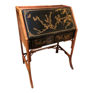 Vintage Chinoiserie Decorated Slant Front Desk W Regency Bamboo Frame