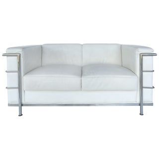 Mid-Century Leather Loveseat After Le Corbusier