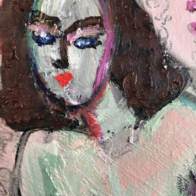 Contemporary Modern Figure on Bench Painting by Jj Justice For Sale - Image 3 of 12