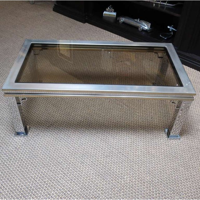 Maison Jansen Style Chrome and Glass Coffee Table - Image 2 of 5