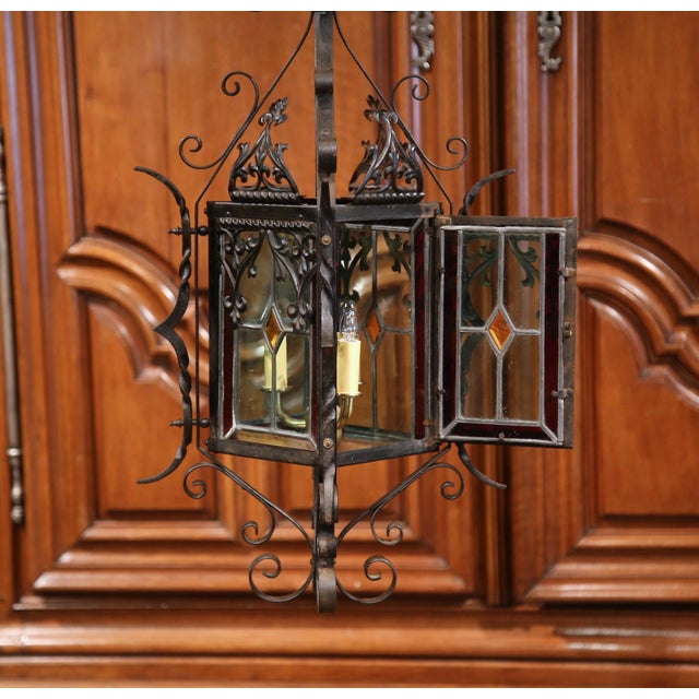 Late 19th Century 19th Century French Napoleon III Black Iron Lantern With Stained Glass Panels For Sale - Image 5 of 9