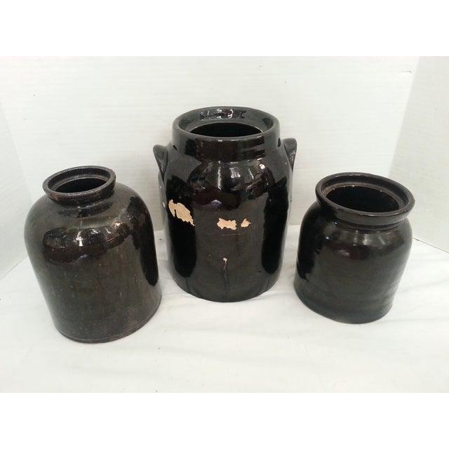 Chocolate Brown Glazed Jars - Set of 3 - Image 2 of 4