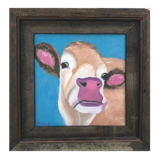 """""""Cream of the Crop"""" California Cow Original Oil Painting For Sale"""