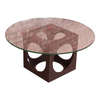 Roger Sprunger for Dunbar Walnut Cube Glass Top Cocktail Table, 1960s For Sale