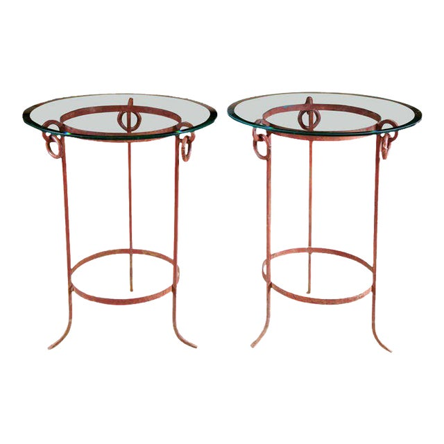 Wrought Iron End Tables - A Pair For Sale