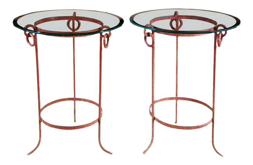 Wrought Iron End Tables   A Pair