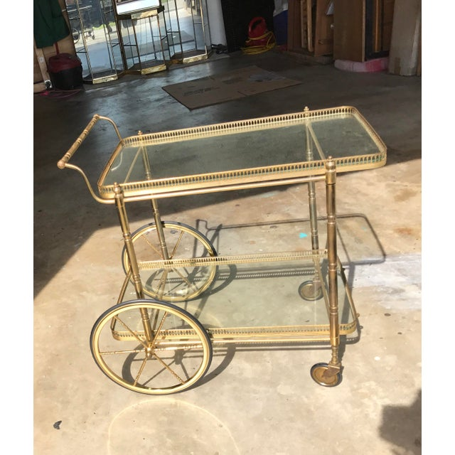 Italian Brass Bar Cart - Image 3 of 3