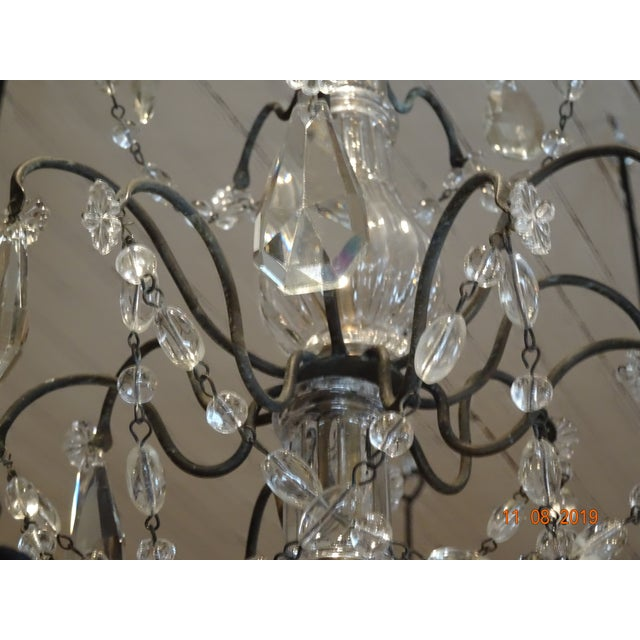Small Vintage French Crystal Chandelier For Sale - Image 4 of 13