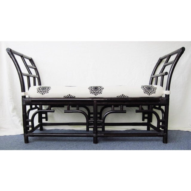Asian Bamboo & Rattan Chinese Chippendale Bench For Sale - Image 3 of 7