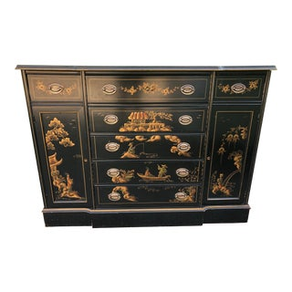 1980's Chinoiserie Asian Style Painted Sideboard Credenza For Sale