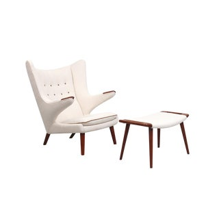 Papa Bear Chair and Ottoman by Hans Wegner For Sale