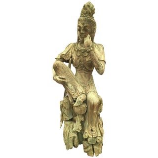 19th Century Chinese Guan Yin Carved Wooden Sculpture For Sale