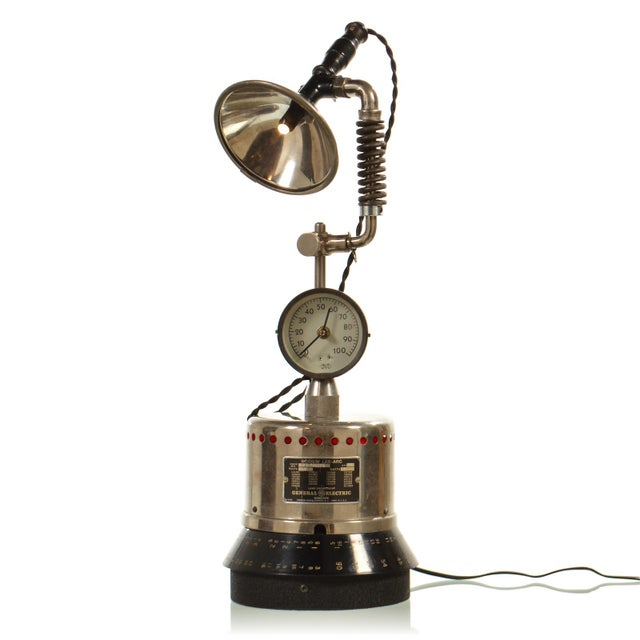 Silver Custom Industrial Table Lamp For Sale - Image 8 of 8