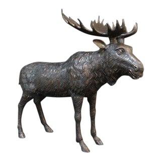 Vintage Bronze Moose Statue For Sale