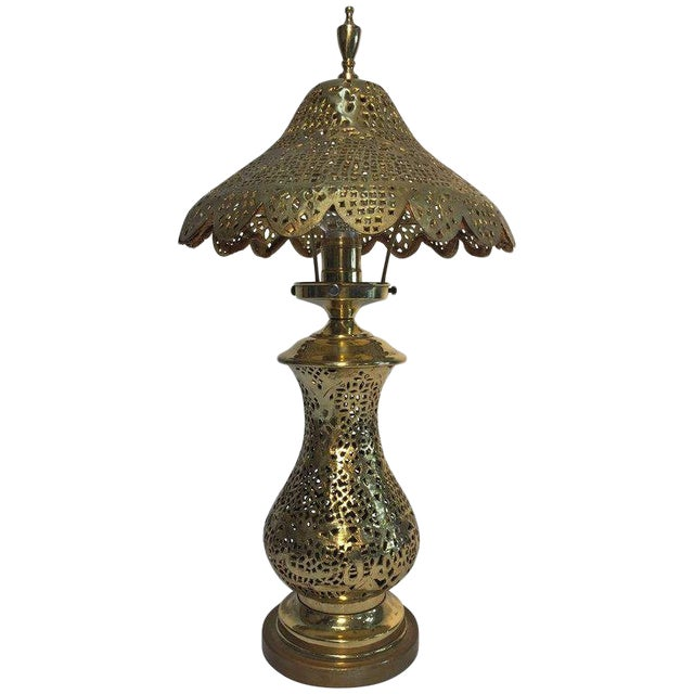 Moorish Revival Brass Syrian Table Lamp For Sale