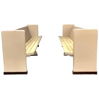 Modernist Painted Tufted Seat Church Pews or Benches - A Pair For Sale