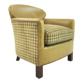 Modern Leathercraft Lime Green Houndstooth Lounge Chair For Sale