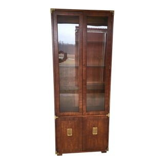 Henredon Lighted Campaign Style Wall Cabinet