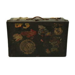 Early 20th Century Leather Luggage With Original Travel Stickers, Circa 1930s