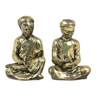 Gold Praying Monks Ceramic Statues - a Pair
