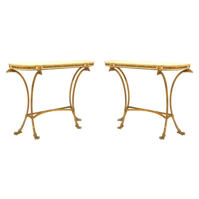 Pair of French Louis XVI Style Bronze Doré Console Tables For Sale