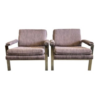 1970s Milo Baughman Designed Chrome Lounge Chairs- a Pair For Sale