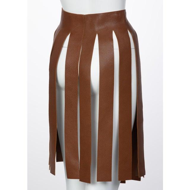 Prada Prada Brown Pebbled Leather Fringe Waist Belt / Skirt Overlay For Sale - Image 4 of 6