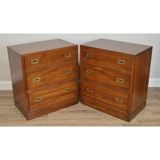 Ethan Allen Campaign Style Pair Solid Cherry 3 Drawer Chests Nightstands Preview
