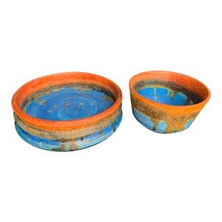 1960 Vintage Marcello Fantoni Glazed Ceramic Vessels - a Pair For Sale